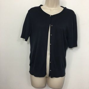 Ann Taylor button down cardigan silk blend blue L